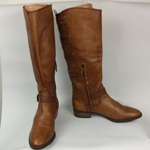 Arturo Chiang High Brown Leather Boots, Sz 9.5 M